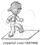 Sketch Firefighter Fireman Man On Postage Envelope Surfing