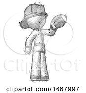 Sketch Firefighter Fireman Man Holding Football Up