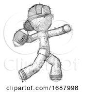 Sketch Firefighter Fireman Man Throwing Football