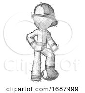 Sketch Firefighter Fireman Man Standing With Foot On Football