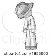 Sketch Firefighter Fireman Man Depressed With Head Down Turned Left