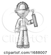 Poster, Art Print Of Sketch Firefighter Fireman Man Holding Dynamite With Fuse Lit