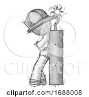Poster, Art Print Of Sketch Firefighter Fireman Man Leaning Against Dynimate Large Stick Ready To Blow