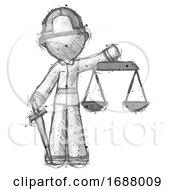 Poster, Art Print Of Sketch Firefighter Fireman Man Justice Concept With Scales And Sword Justicia Derived