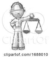 Poster, Art Print Of Sketch Firefighter Fireman Man Holding Scales Of Justice