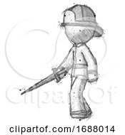 Sketch Firefighter Fireman Man With Sword Walking Confidently