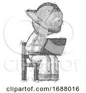 Sketch Firefighter Fireman Man Using Laptop Computer While Sitting In Chair Angled Right