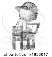 Sketch Firefighter Fireman Man Using Laptop Computer While Sitting In Chair View From Back