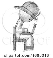 Sketch Firefighter Fireman Man Using Laptop Computer While Sitting In Chair View From Side