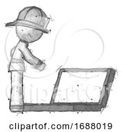 Sketch Firefighter Fireman Man Using Large Laptop Computer Side Orthographic View