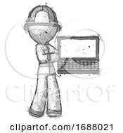 Sketch Firefighter Fireman Man Holding Laptop Computer Presenting Something On Screen