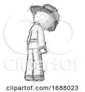 Sketch Firefighter Fireman Man Depressed With Head Down Back To Viewer Right