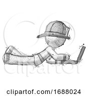 Sketch Firefighter Fireman Man Using Laptop Computer While Lying On Floor Side View