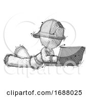 Sketch Firefighter Fireman Man Using Laptop Computer While Lying On Floor Side Angled View
