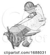 Sketch Firefighter Fireman Man In Geebee Stunt Plane Descending View