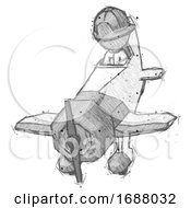 Sketch Firefighter Fireman Man In Geebee Stunt Plane Descending Front Angle View