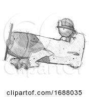 Sketch Firefighter Fireman Man In Geebee Stunt Aircraft Side View