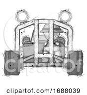 Sketch Explorer Ranger Man Riding Sports Buggy Front View