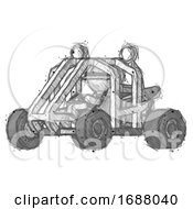 Sketch Explorer Ranger Man Riding Sports Buggy Side Angle View