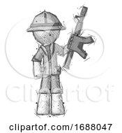 Sketch Explorer Ranger Man Holding Automatic Gun