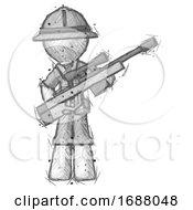 Sketch Explorer Ranger Man Holding Sniper Rifle Gun