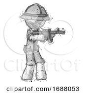 Sketch Explorer Ranger Man Shooting Automatic Assault Weapon