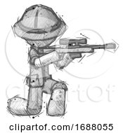 Sketch Explorer Ranger Man Kneeling Shooting Sniper Rifle