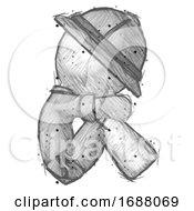 Sketch Explorer Ranger Man Sitting With Head Down Facing Sideways Right