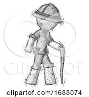 Sketch Explorer Ranger Man Walking With Hiking Stick