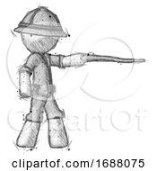 Sketch Explorer Ranger Man Pointing With Hiking Stick