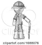 Sketch Explorer Ranger Man Standing With Hiking Stick