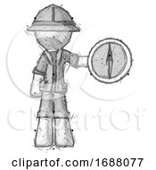 Sketch Explorer Ranger Man Holding A Large Compass