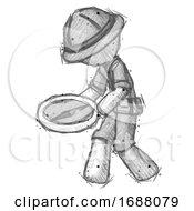 Sketch Explorer Ranger Man Walking With Large Compass