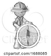 Sketch Explorer Ranger Man Standing Beside Large Compass