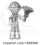 Sketch Explorer Ranger Man Holding Feather Duster Facing Forward