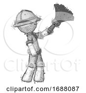 Sketch Explorer Ranger Man Dusting With Feather Duster Upwards