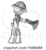 Sketch Explorer Ranger Man Dusting With Feather Duster Downwards
