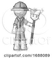 Poster, Art Print Of Sketch Explorer Ranger Man Holding Jester Staff