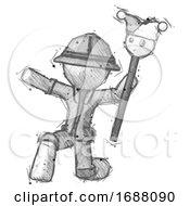 Poster, Art Print Of Sketch Explorer Ranger Man Holding Jester Staff Posing Charismatically