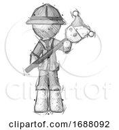 Poster, Art Print Of Sketch Explorer Ranger Man Holding Jester Diagonally