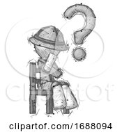 Sketch Explorer Ranger Man Question Mark Concept Sitting On Chair Thinking