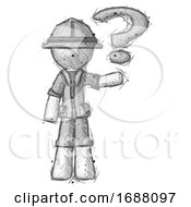 Sketch Explorer Ranger Man Holding Question Mark To Right