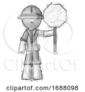 Poster, Art Print Of Sketch Explorer Ranger Man Holding Stop Sign