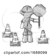 Sketch Explorer Ranger Man Holding Stop Sign By Traffic Cones Under Construction Concept