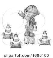 Poster, Art Print Of Sketch Explorer Ranger Man Standing By Traffic Cones Waving