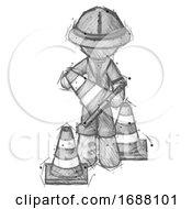 Poster, Art Print Of Sketch Explorer Ranger Man Holding A Traffic Cone