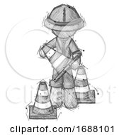 Sketch Explorer Ranger Man Holding A Traffic Cone