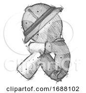 Sketch Explorer Ranger Man Sitting With Head Down Facing Sideways Left