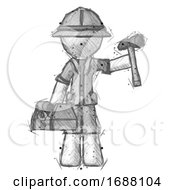 Sketch Explorer Ranger Man Holding Tools And Toolchest Ready To Work