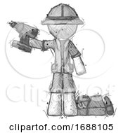 Sketch Explorer Ranger Man Holding Drill Ready To Work Toolchest And Tools To Right